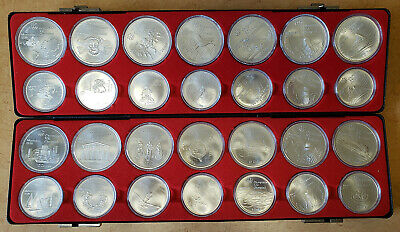 1976 CANADA XXII Olympic 28 Sterling Silver Coin Set w/ Safe Deposit Box Case