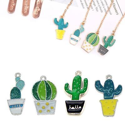 3 pcs Mix Green Enamel Cactus Plants Charms Pendants Jewelry Crafts Accessories