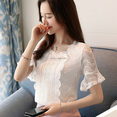 Summer Fashion Womens Lace Crochet Bell Sleeve Casual Office T Shirt Blouse Tops