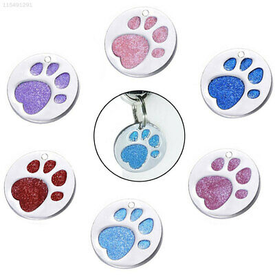 A16F Alloy Cat ID Tag Dog Tags Reflective Engraved Collar Pet Paw Print Tags