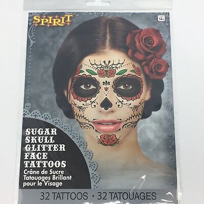 Day of the Dead Sugar Skull Temporary Face Tattoo Kit Glitter Red Roses New