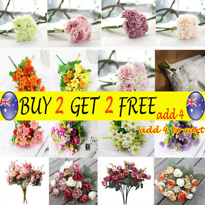 28 Heads Artificial Silk Flowers Bouquet Roses Leaf Bunch Wedding Home Party TH