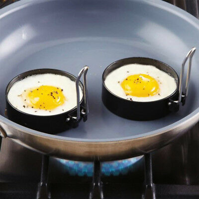 2PCS Stainless Steel Fried Egg Rings Non Stick Pancake Omelet Mold Cooking Tools