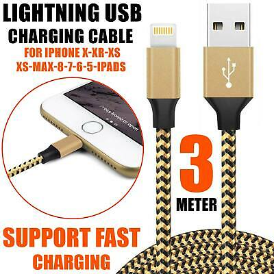 USB Lightning Charger & Data Sync Cable Lead For i-Phone 6 7 8 Plus X XR 3M