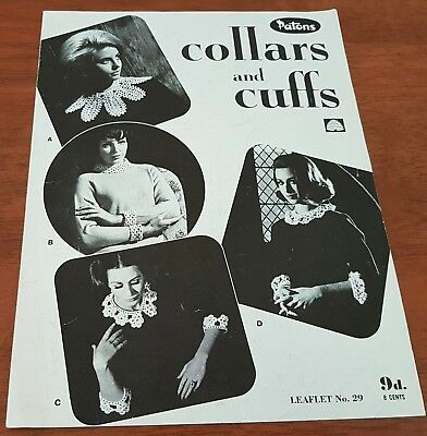 Vintage 60s PATONS Crochet Leaflet no 29 Assorted COLLARS AND CUFFS Patterns