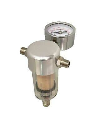 In-Line Bleed Valve Filter Airbrush Regulator - 1/8 Bsp Male Connections