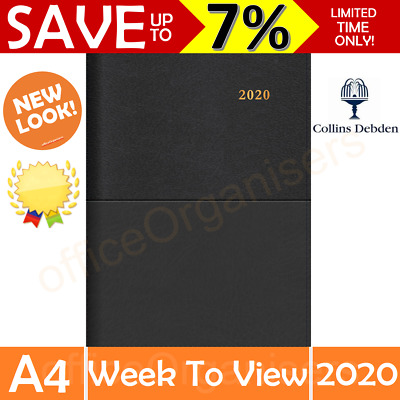 Collins 2020 Diary Vanessa A4 Week To View Open Spiral Calendar Year Black CO345