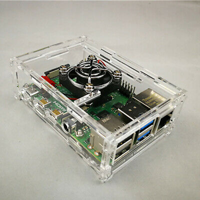 Fit for Raspberry Pi 4 Model B Acrylic Case Cover Enclosure Box with Cooling Fan