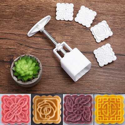 4 Flower Stamps 50g Square Moon Cake Mold Pastry Mooncake Mould DIY Baking Tool
