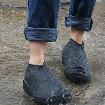Silicone Overshoes Rain Waterproof Shoe Covers BLACK  L