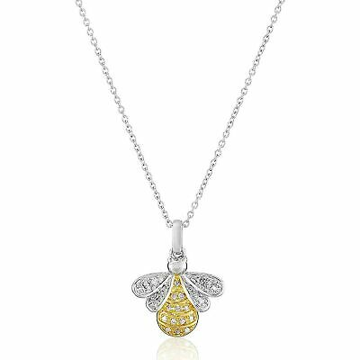 """1/10 ct Diamond Bumblebee Pendant in Sterling Silver & 14K Gold Plate, 18"""""""