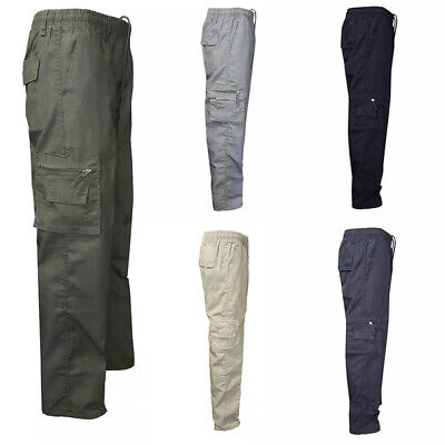 Mens Army Pocket Pants Combat Military Cargo Work Casual Lightweight Trousers