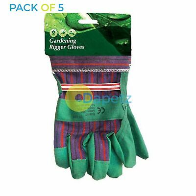 5 x Rigger Gloves Chrome Leather Quality Safety For Construction And General Use