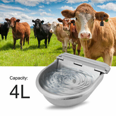 Stainless Water Trough Bowl Automatic Drinking for Horses Goats Sheep Catte 4L