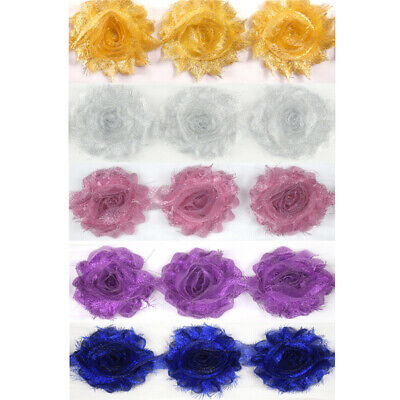 Double Row 3D Rose Flower Lace Fabric Trimming Bridal Tulle Shabby Chic Trim
