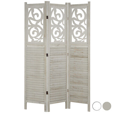 Hartleys 3 Panel Wooden Room Divider Grey/White Folding Partition Privacy Screen