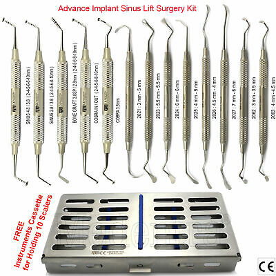 MEDENTRA® 13Pc DENTAL IMPLANT MUSHROOM  PERIOSTEAL SINUS LIFT ELEVATORS+CASSETTE