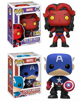 SDCC 2017 Exclusive Funko Pop! Marvel Captain America Bucky Cap and Red She-Hulk