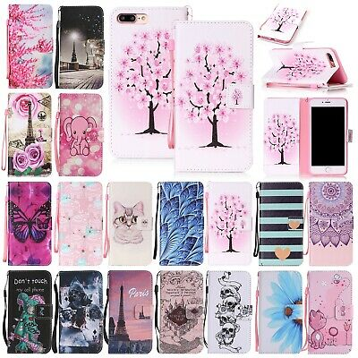 For iPhone XS Max Case 8 7 XR Cute Patterned Leather Magnetic Wallet Stand Cover