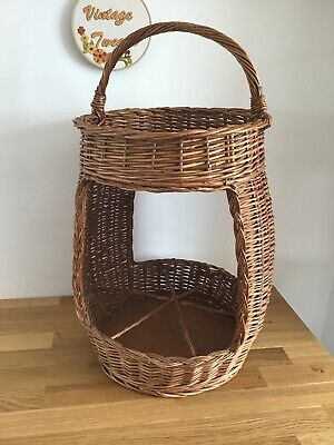 Vintage Wicker Wine Carrier And Picnic Table French Retro