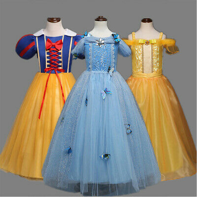 AU Princess Belle Cinderella Dress Kids Girls Fancy Party Cosplay Costume Snow