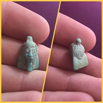 Rare ancient Egyptian faience Pharaoh Head amulet, 300 bc