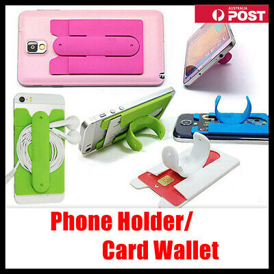 Silicone Mobile Phone Back Wallet 3M Stick On Adhesive Cash ID Opal Card Holder