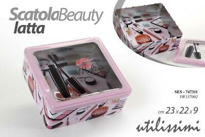 Scatola Beauty Porta Oggetti Make Up Trucchi In Latta 23*22*9 Cm Ses-747311