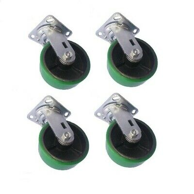 "Set of Four 6"" Polyurethane on Steel Swivel Replacement Casters"
