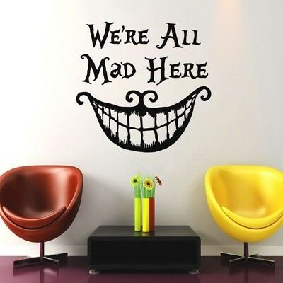 Vinyl We're all Mad Here Alice In Wonderland Decal Stickers for Car Home Decors