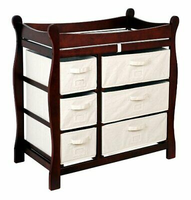 Badger Basket Cherry Sleigh Style Changing Table with 6 Baskets     903