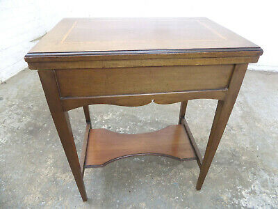 antique,edwardian,mahogany,inlaid,games table,card table,hall,console,table,