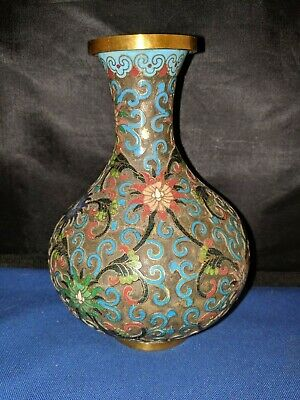 """Chinese Brass Enamel Floral Cloisonne Champleve vase approx 6.5""""H ANTIQUE"""