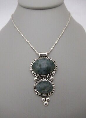 """925 Sterling Silver Moss Agate Pendant Necklace 18"""" Sparkle Snake Chain"""