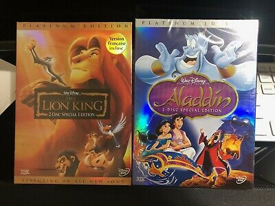 The Lion King + Aladdin 2 DVD Bundle (DVD, 2003, Platinum Edition All-New)