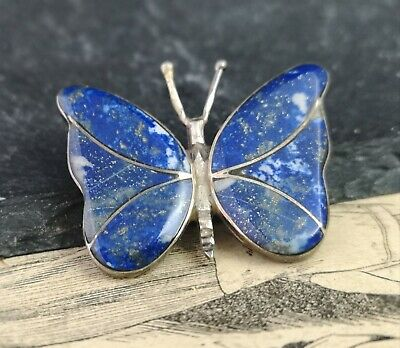 Vintage Lapis Lazuli butterfly brooch, silver, 20s