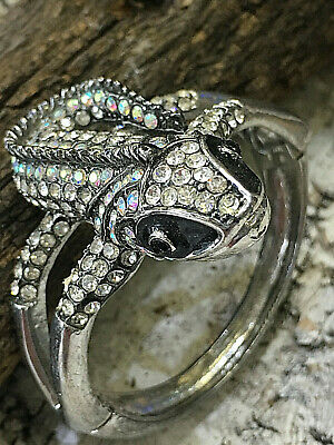 Lizard Iguana Dragon Lady Silver Bangle Cuff Bracelet Beautiful Iridescent Stone