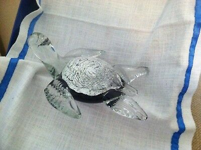 Art Glass Turtle with Black/Silver body & Crystal Head and Feet Paperweight New