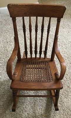 Beautiful Vintage Wooden Child's Rocking Chair With Cane Seat