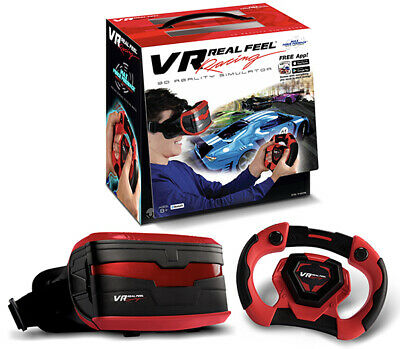 Virtual Reality VR Real Feel Racing Headset & Steering Wheel W/ App & Bluetooth