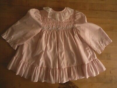 Frilly Vintage Polly Flinders Toddler Childs Baby Dress Pink 18 MO