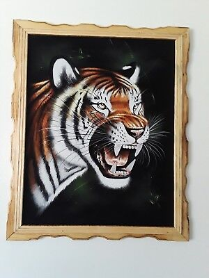 "BENGAL TIGER  , Hand Painted , VELVET PAINTING , 18"" BY 22"" WITH FRAME , DECOR"