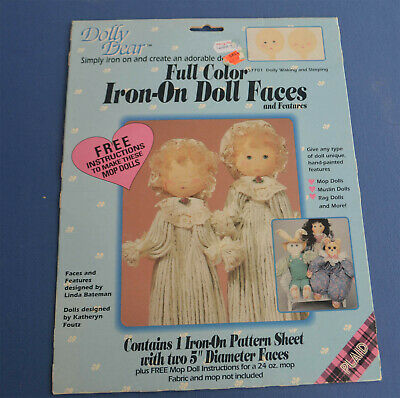 Doll Face Iron On Transfer Waking and Sleeping Full Color Plaid 57701