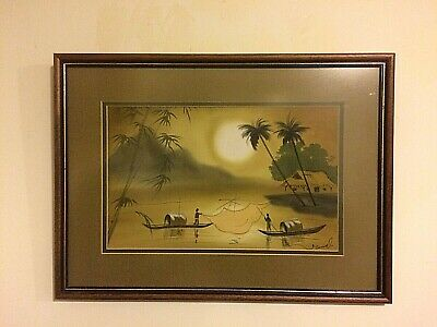 Vintage Signed Chinese watercolor Painting of Fishermen at river/ Lake village
