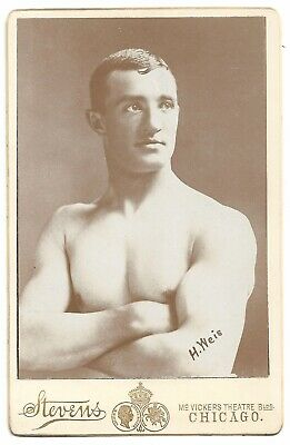 Antique Cabinet Card Photo H. Weis Shirtless Strongman Stevens Chicago