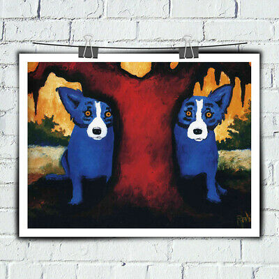 HD Prints Cartoon Animal Blue Dog on Canvas Home Wall Decor Art Painting 16x20