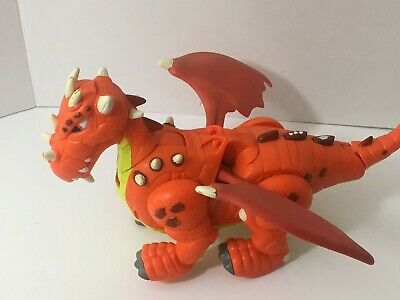 Imaginext Dragon Orange Walking Flapping Wings Sounds 2007 Fisher Price Tested