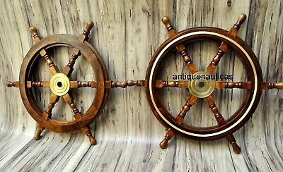 """Set OF 2 Nautical Wooden Ship Steering Wheel 24"""" Pirate Decor Wood Wall Boat"""