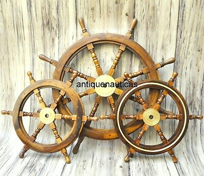 """Set Of 3 (36"""" & 24"""") Nautical Wooden Ship Steering Wheel Pirate Wall Decor"""
