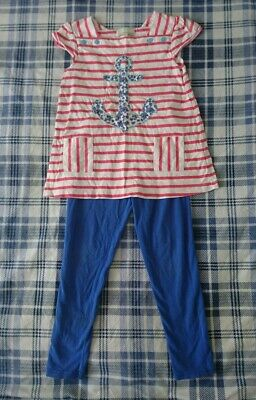 Girls Mini B BHS Outfit Age 5-6 Years. T-shirt, Leggings. Blue, Red, White.